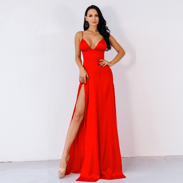 Elegance Slits Red Maxi Dress