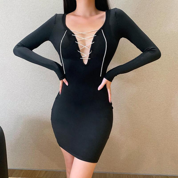 Lace Up Knitted Bodycon Short Dress