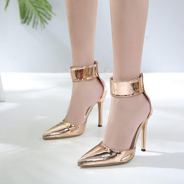 Gold Beit Point Toe Pointed Toe High Heels