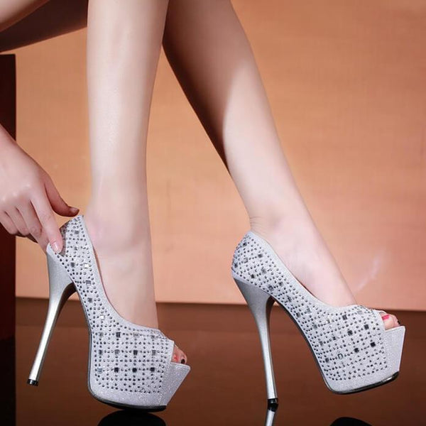 Platform Rhinestone Leather Peep Toe Sandals