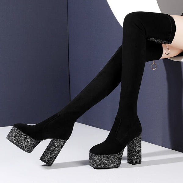 Black Stretch Platform Chunky Heel Over Knee Boots