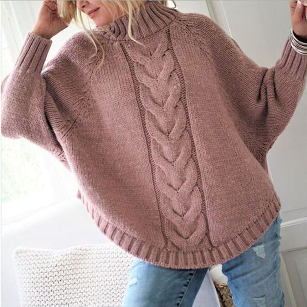 Loose Turtleneck Batwing Sleeve Cable Knitted Sweater