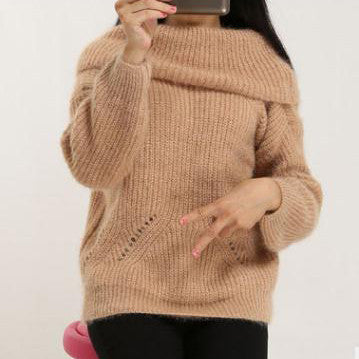 Label Neck Off Shoulder Long Sleeves Pure Color Sweater
