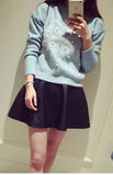 Beadings Dropped Shoulder Pullover Round Neck Solid Short Sweater - May Your Fashion - 1