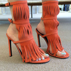 Stylish Suede Open Toe Fringe Buckle High Heel Sandals
