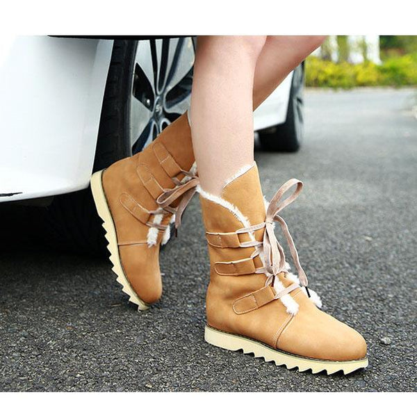 British Lace Up Round Toe Warm Half Snow Boots