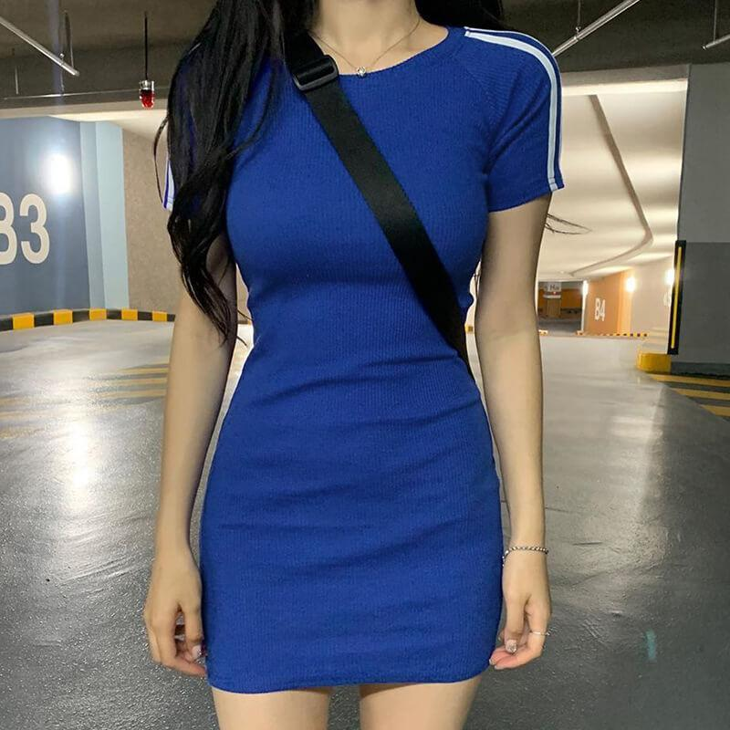 Sports Short Sleeve Tight Bodycon Dress
