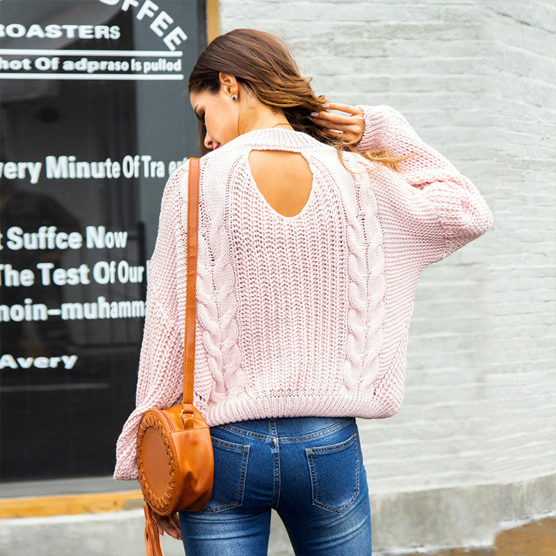 Crewneck Cut Out Cable Knitted Sweater