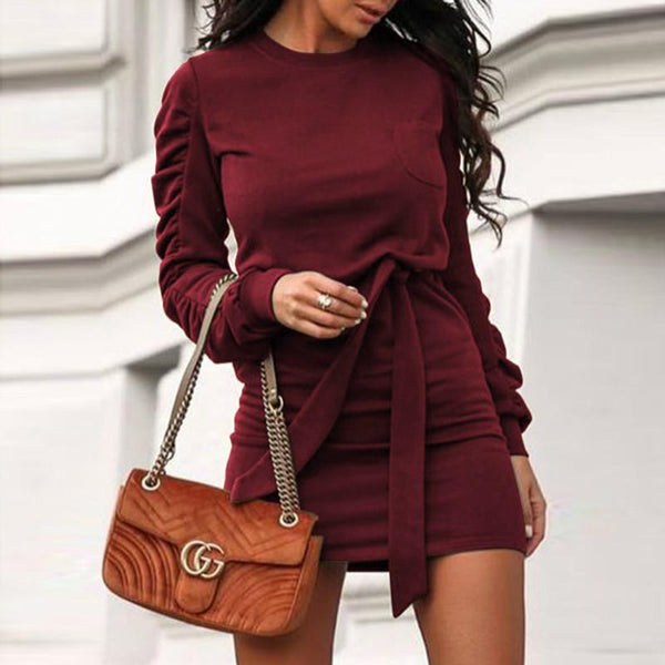 OL Sweatshirt Tie Waist Short Dress
