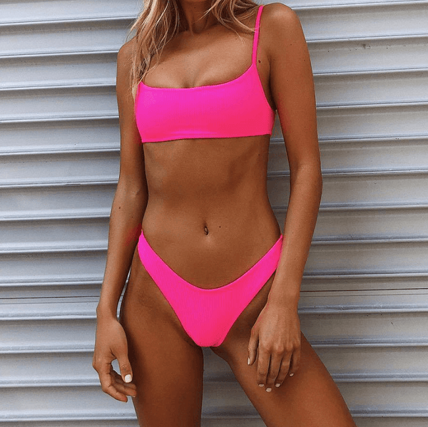 Bright Color Tight Padded Top Thong Bottom Bikinis
