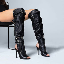 Black Leather Peep Toe Buckle High Heel Knee High Boots