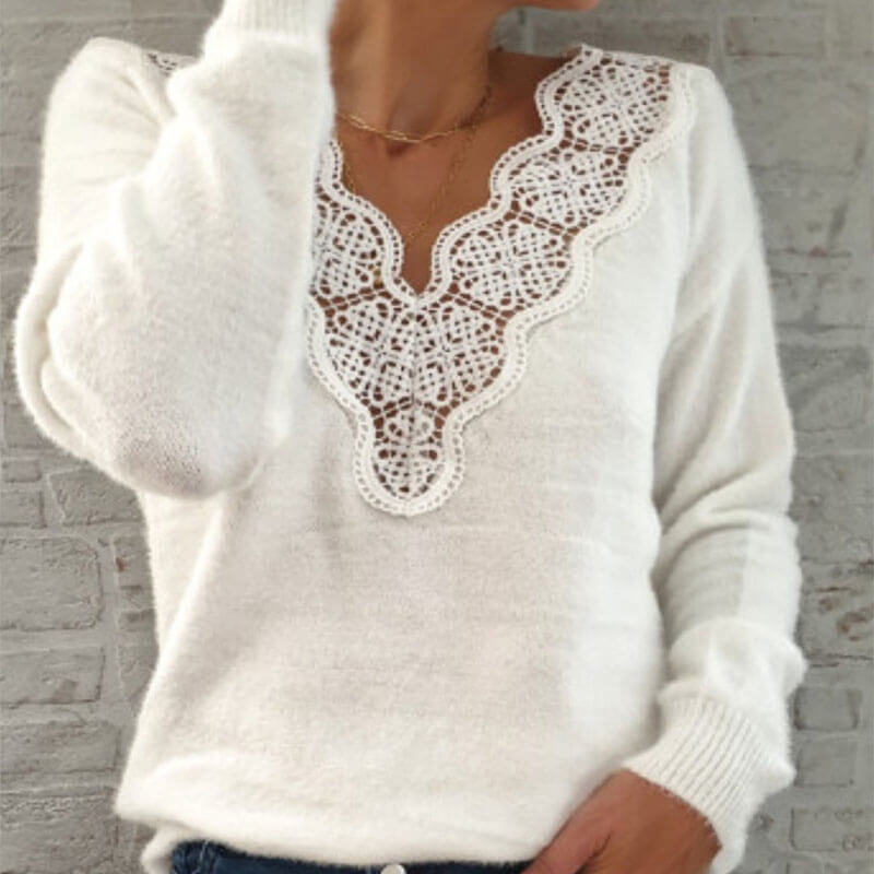 Lace Patchwork Knitted Top