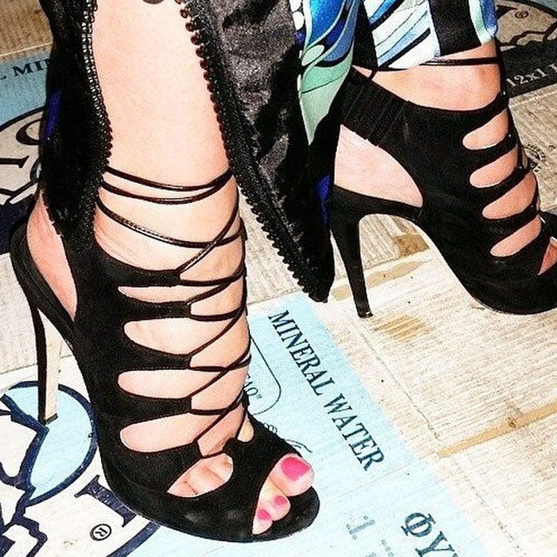 Sexy Black Suede Peep Toe Strap Cutout High Heel Sandals