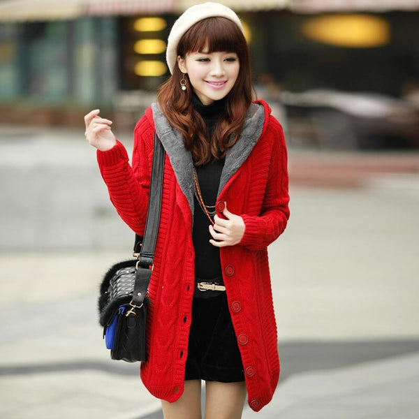 Cable Knitted Hooded Sweater Cardigan Coat