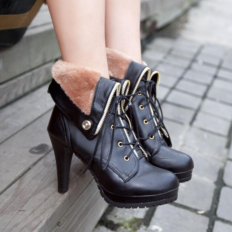 Curled Edge Platform Pointed Toe Lace Up Stiletto Heel Short Boots