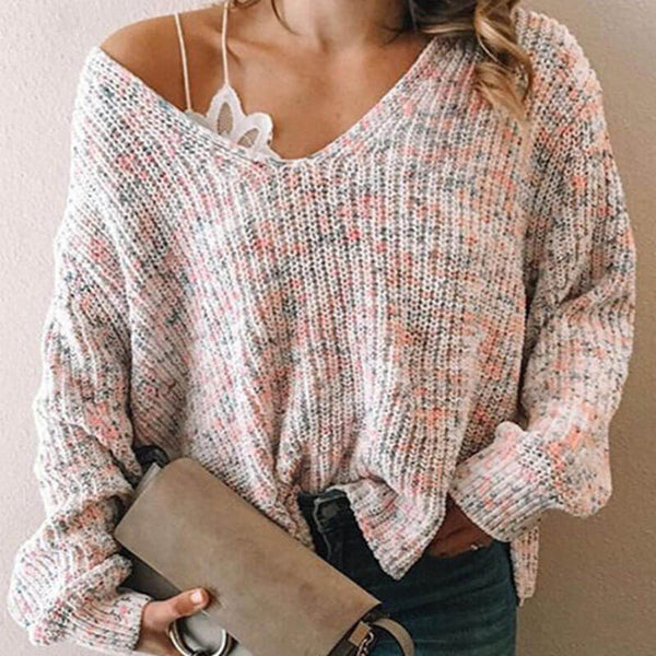 Loose V Neck Knitted Sweater
