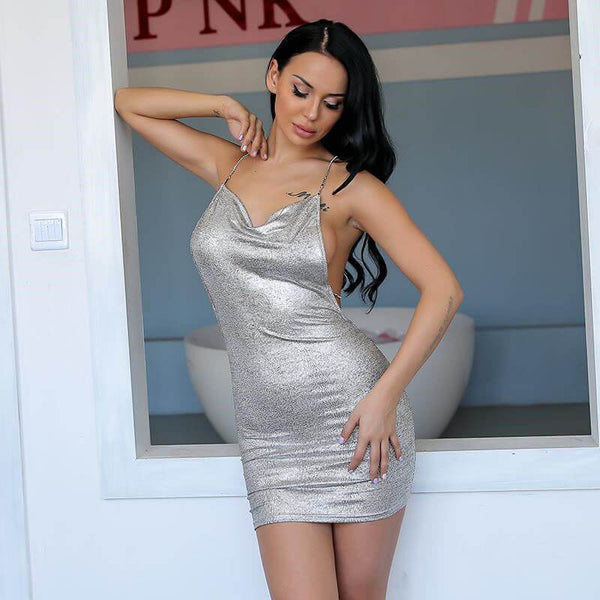 Metal Chain Backless Bodycon Dress