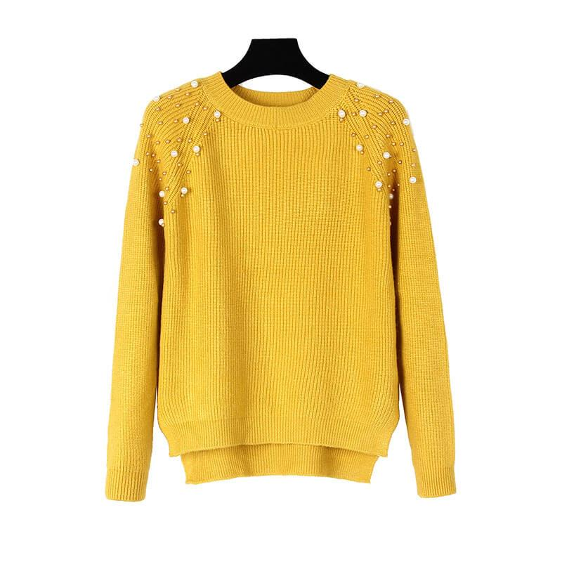 Pearls Pure Color Knitting Sweater