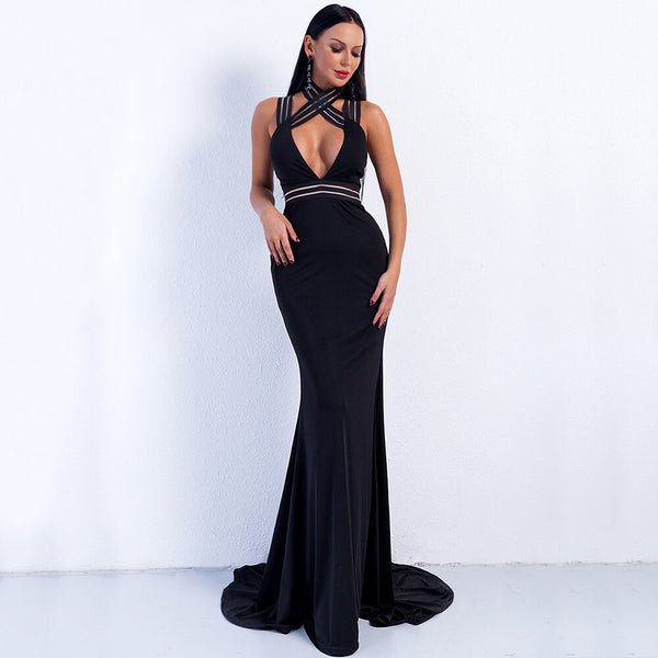 Cross Strap Backless Floor Length Dress