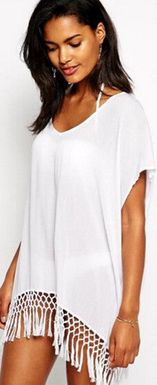 Halter V-neck White Tassels Short Cover Up Beach Dress