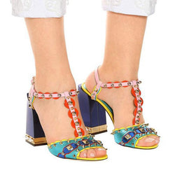 Fashion Colorblock Rivet Chunky Heel Sandals
