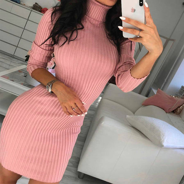 Turtleneck Tight Ribbed Bodycon Sweater Dress