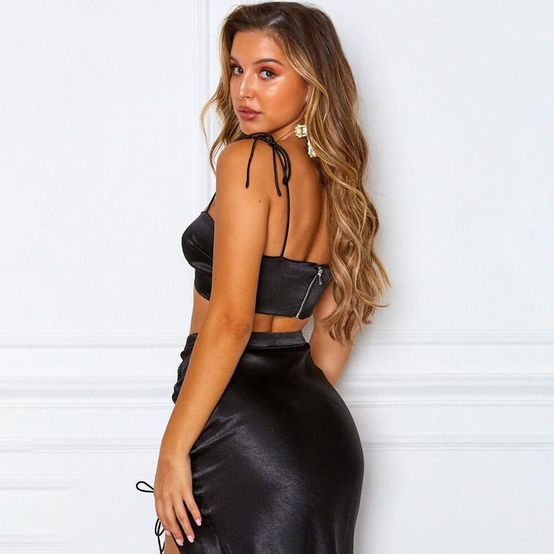 Sexy Spaghetti Strap High Waist Split Bandage Midi Skirt Sets