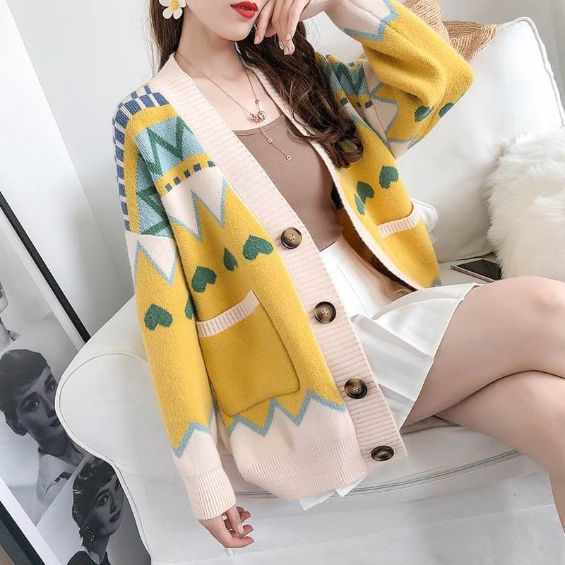 Geometric Colorblock Christmas Cardigan Sweater
