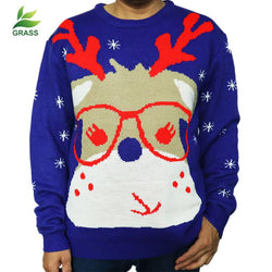 Ugly Christmas Reindeer Crewneck Knit Sweater