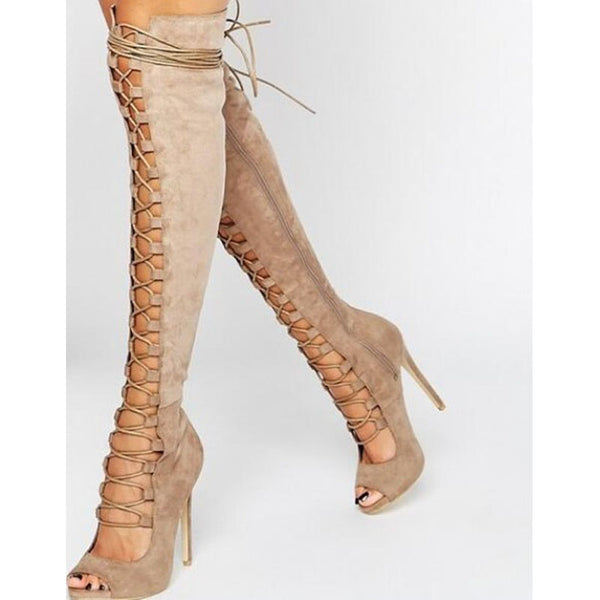 Suede Peep Toe Cutout Strap High Heel Knee High Sandals