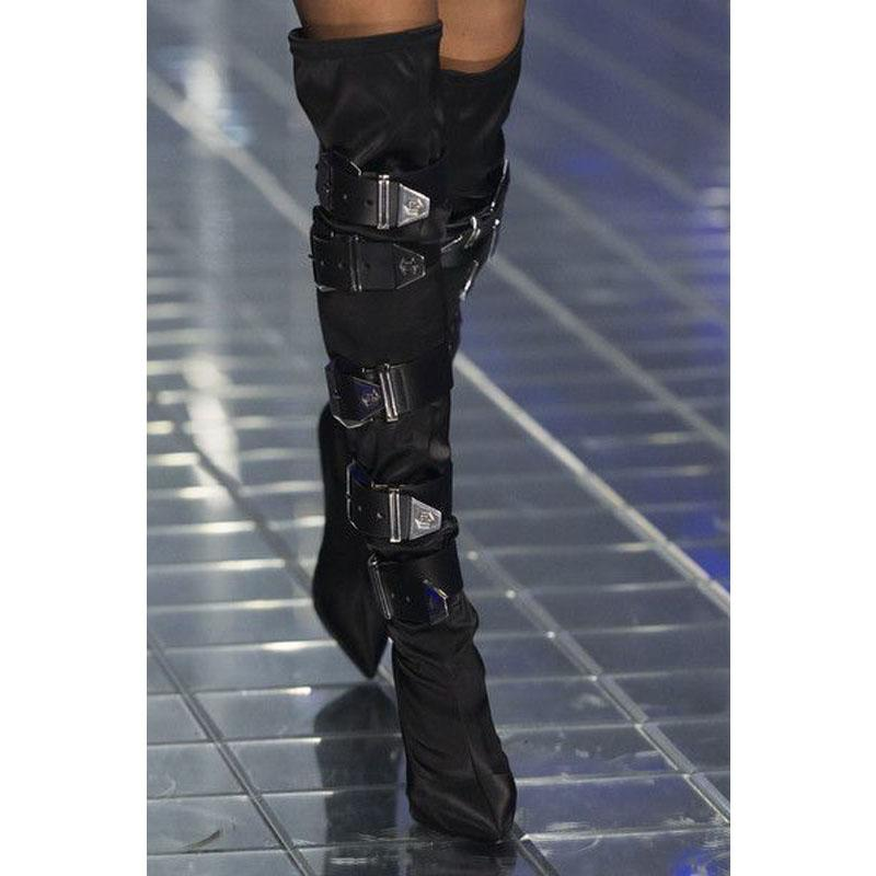 Stylish Rhinestone Buckles Pointed Toe Over Knee Boots