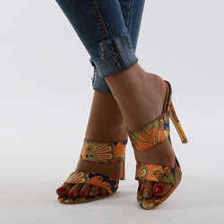 Fabric High Heel Cutout Sandals