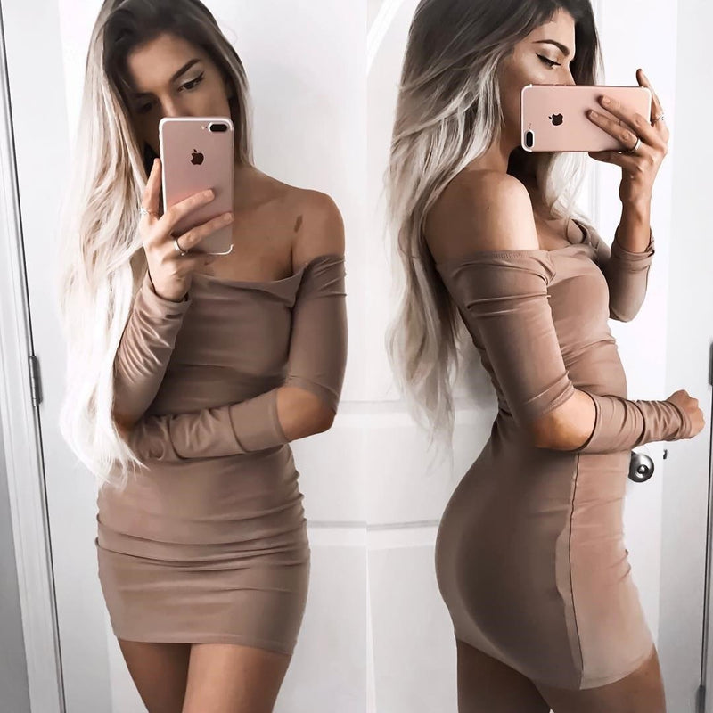 Off Shoulder Pure Color Cut Out Bodycon Short Dress