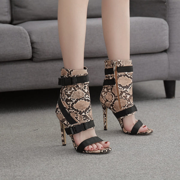Snakeskin Leather Point Toe Buckle High Heel Sandals