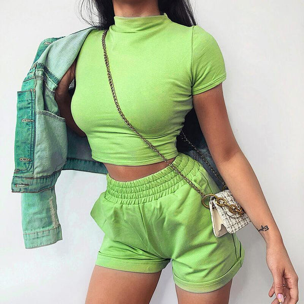 Short Sleeve High Waist Bodycon High Neck Two Pieces Set