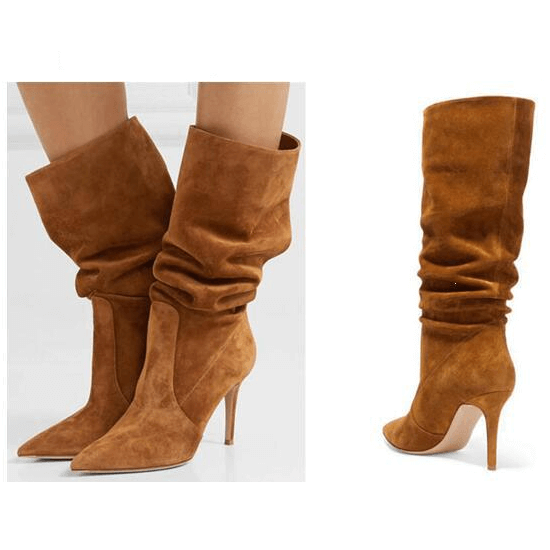 Brown High Heel Suede Fold Knee High Boots