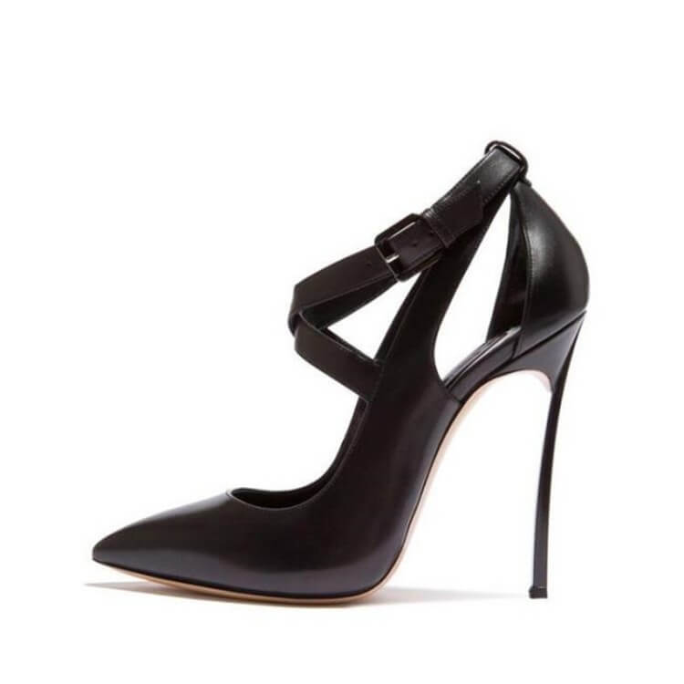 Black Leather Cutout Pointed Toe Stiletto Heel Pumps