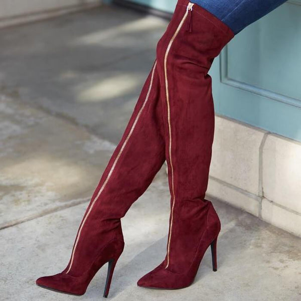 Red Closed Toe Suede Boot Sandals