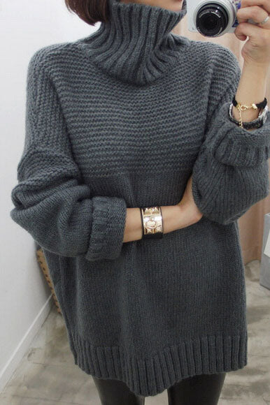 Solid Color Side Split High Neck Loose Pullover Sweater