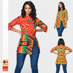 Sexy Split Digital Print Half Sleeve O Neck Long T-shirts