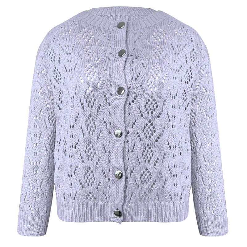 Solid Hollow Out Cardigan