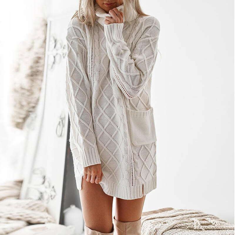 Turtleneck Cable Knit Oversized Sweater Dress