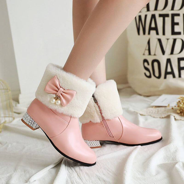 Bow Rhinestone Leather Chunky Heel Ankle Boots