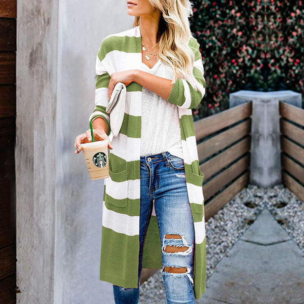 Striped Slits Long Cardigan