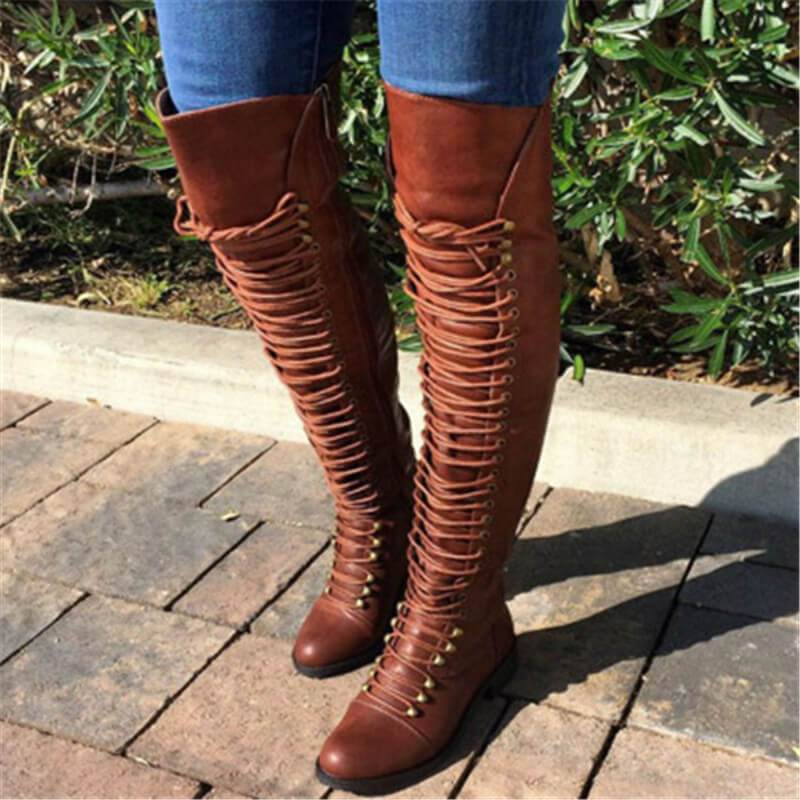 Leather Low Heel Lace Up Over Knee Boots