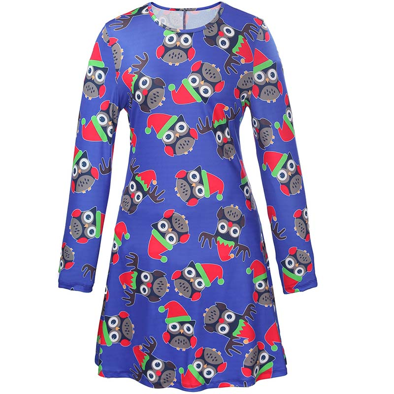 Christmas Plus Size Cartoon Print Short Dress