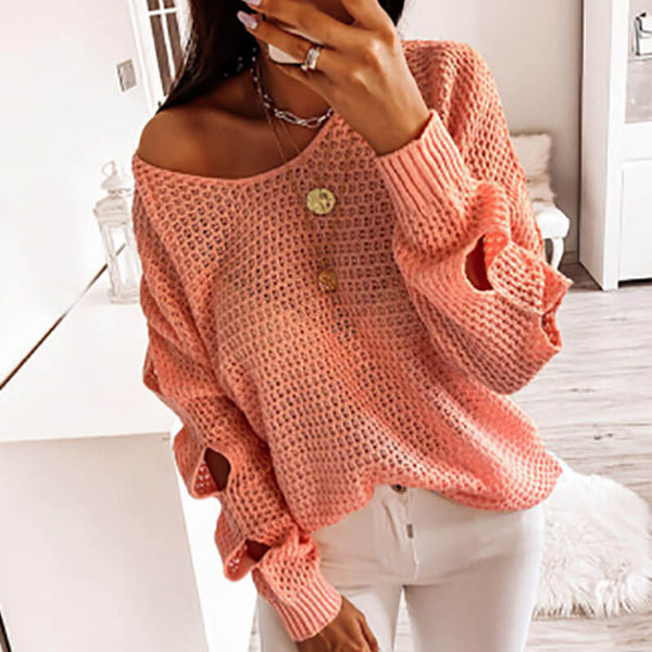 Cut Out Sleeve Crochet Sweater