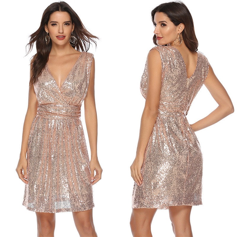 Sequins V Neck Empire Waist Short Dress