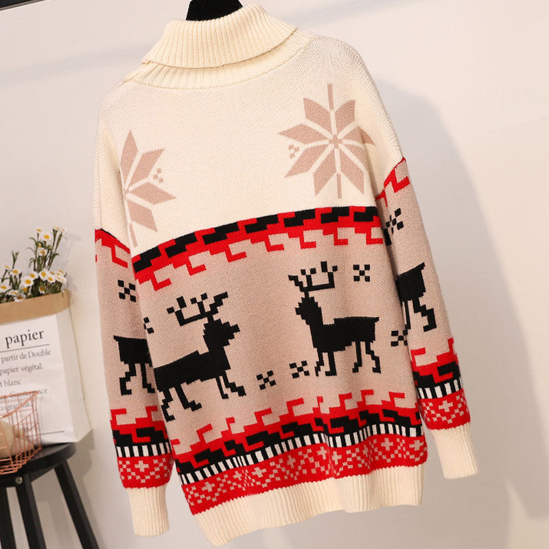 Turtleneck Colorblock Pattern Knitting Christmas Sweater