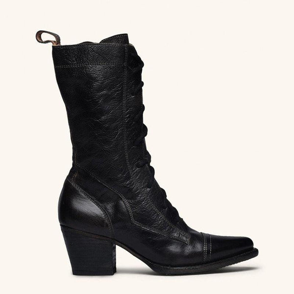Casual Leather Strap Chunky Heel Calf Boots